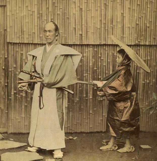фото самурая,ношение катаны